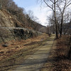 Dry set stone berm wall at Harpers Ferry