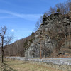 Large rock cliff along side C&O Canal across from Harpers Ferry WV