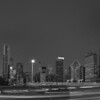 Grant Park Skyline at Night in Black and White