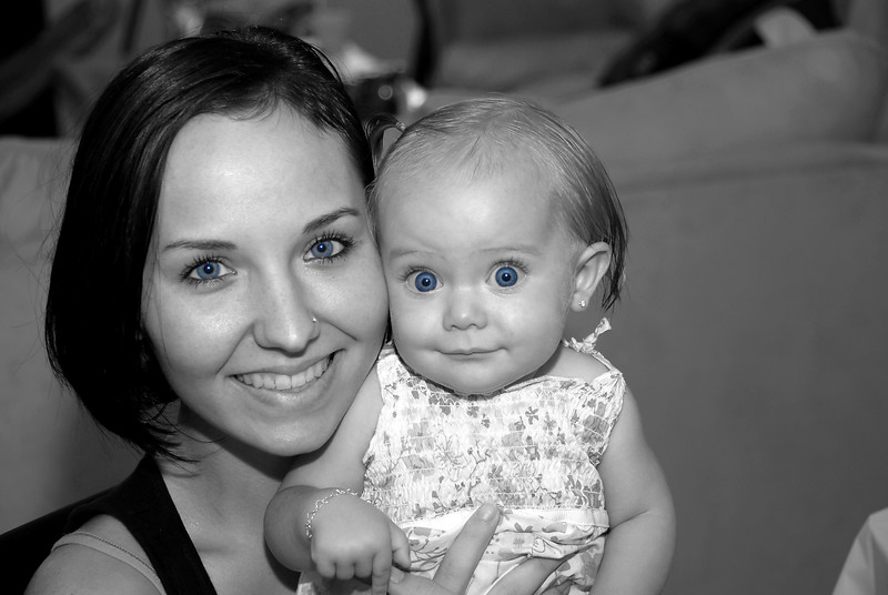 Mother and daughter, black and white, color added, happy, exuberant, full of life