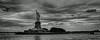 New York Statue of Liberty black and white wide