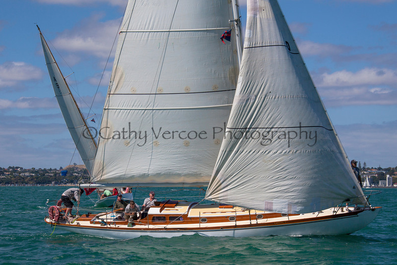 Sailing at the 2013 Southern Trust CYANZ Classic Yacht Regatta on Auckland's Waitemata Harbour. Cathy Vercoe LuvMyBoat.com