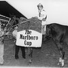 Lemhi Gold with Jacinto Vasquez up after winning the Marlboro Cup Invitational. September 18, 1982.<br /> Bob Coglianese Photo
