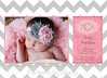 Chaney pink gray chevron 5x7