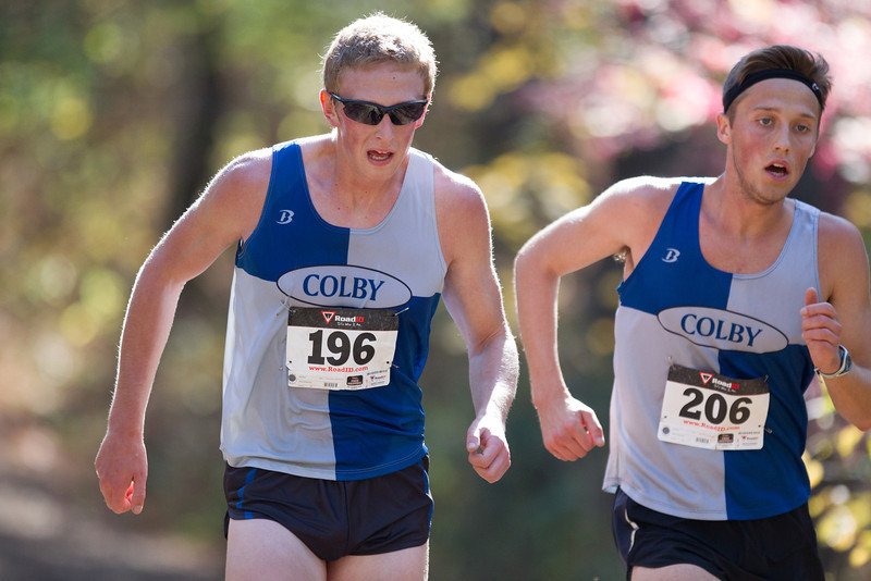 Dave Murphy and Nolan Dumont, of Colby College, compete in the NCAA Division III  Maine State Championships on October 19, 2013 in Waterville, ME. (Dustin Satloff/Colby College Athletics)