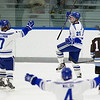 Ben Chwick and Geoff Sullivan, of Colby College, in a NCAA Division III hockey game against Tufts University on December 6, 2013 in Waterville, ME. (Dustin Satloff/Colby College Athletics)