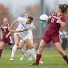 Amanda Findlay, of Colby College, in a NCAA Division III soccer game on October 29, 2014 in Waterville, ME. (Dustin Satloff/Colby College Athletics)