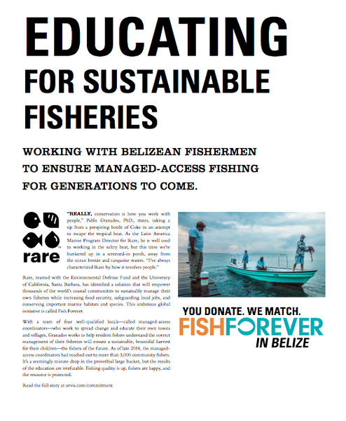 Feature reporting on RARE's Belize program for Orvis. Spring 2015.
