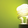 Fluorescent lightbulb with green background