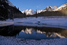 The Maroon Bells winter pond reflection #1; Colorado Elk Range.