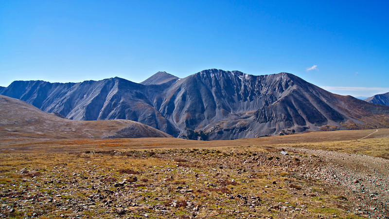 14ers Mount Shavano and Tabeguache Peak stand directly south of Mount Antero; Colorado Sawatch Range.