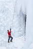 """Daring""  An ice climber at the Ouray Ice Park, Colorado, USA."