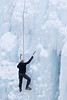 An ice climber at the Ouray Ice Park, Colorado, USA.