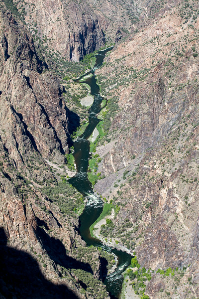 Gunnison River running through the Black Canyon of the Gunnison National Park.  Near Montrose, Colorado. Mid morning. 7922' elevation.