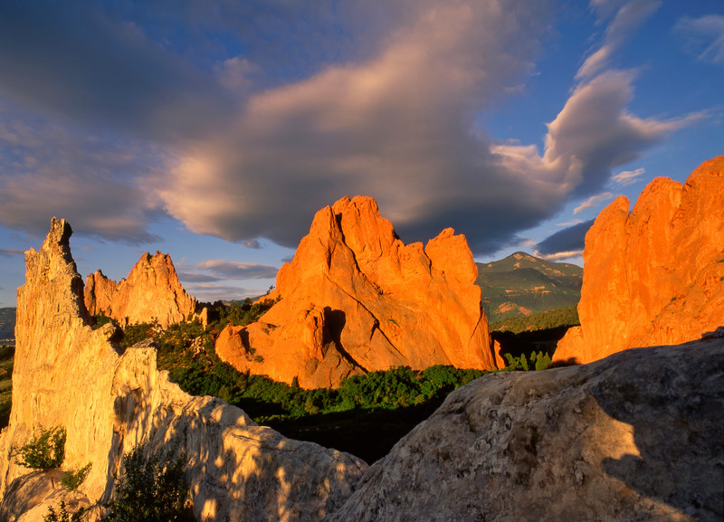 Rocks that are now reaching toward the sky and decorating the Front Range of the Colorado Rocky Mountains, were stream bed millions of years ago. Rock climbers come from all over the world to climb these lovely formations in Garden of the Gods Park in Colorado Springs.