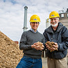 Francisco X. Aguilar, associate professor of forestry, and Hank Stelzer, associate teaching professor and forestry department chair, at the University of Missouri Power Plant on campus. As part of their research, the power plant has coverted a biomass boiler to use grass and wood chips. <br /> <br /> Photo by Kyle Spradley | © 2014 - Curators of the University of Missouri