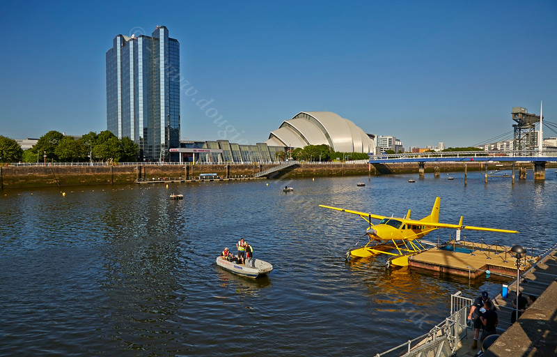Seaplane Carrying the Queen's Baton at Pacific Quay for the Glasgow Commonwealth Games - 23 July 2014