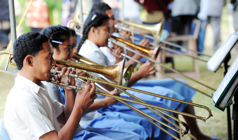 School Brass Band entertaining at the reeception at the New Zealand High Commission Residence, Pacific Mission 2012, Nuku'alofa, Tonga, Monday, July 23, 2012. Credit:SNPA / Ross Setford
