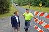 East Rockhill Township Supervisor JIm Nietupski, left, speaks with Public Works Director Jeff Scholl after the opening of the North Rockhill RoadRoad bridge.    Friday,  August 1, 2014.   Photo by Geoff Patton