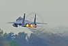 F-15ANG 00034 A McDonnell Dougas F-15 Eagle jet fighter California ANG 144 FW takes off in full afterburner Fresno ANG base 3-2015 military airplane picture by Peter J Mancus