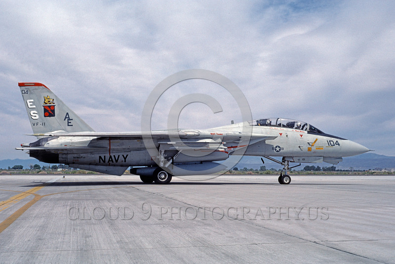 F-14USN-VF-11 0027 A taxing USN Grumman F-14 Tomcat jet fighter 161857 VF-11 RED RIPPERS USS Forrestal NAS Fallon 7-1987 military airplane picture by Michael Grove, Sr
