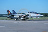 F-14USN-VF-11 0005 A taxing USN Grumman F-14 Tomcat jet fighter VF-11 RED RIPPERS commanding officer's airplane USS George Washington NAS Oceana 10-2004 military airplane picture by David F Brown
