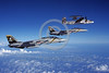 F-14USN-VF-84 0032 Two Grumman F-14 Tomcats USN VF-84 THE JOLLY ROGERS USS Nimitz in flight with a Grumman E-2 Hawkeye 3-1981 military airplane picture by Robert L Lawson