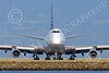 B747 01575 A head-on frontal view of a Boeing 747 United Airline as it turns to take a runway for take-off at SFO airliner picture by Peter J Mancus