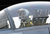 ACM 00055 Portrait of a California ANG F-15 Eagle jet figher pilot with new heavier sophisticated helmet that causes cervical pain, by Peter J Mancus