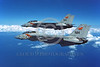 F-14USN-VF-114 0016 Two flying Grumman F-14 Tomcats USN VF-114 AARDVARKS USS America 3-1981 military airplane picture by Robert L Lawson
