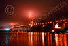 ENGF-GGB 00091 A wide-angle northeast view of the Golden Gate Bridge at night by Peter J Mancus