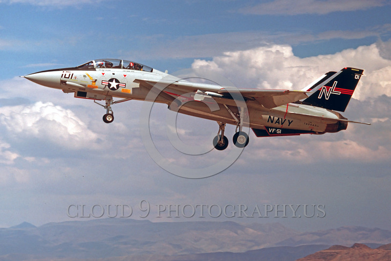 F-14USN-VF-51 0004 A landing Grumman F-14 Tomcat USN jet fighter 160665 VF-51 SCREAMING EAGLE 7-1978  NAS Fallon military airplane picture by Peter B Lewis