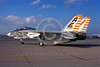 F-14USN-VF-142 0001 A static Grumman F-14 Tomcat USN jet fighter 159449 VF-142 GHOSTRIDERS USS America NAS Miramar 1-1977 military airplane picture by Peter J Mancus