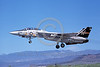 F-14USN-VF-51 0008 A USN Grumman F-14 Tomcat jet fighter 160671 VF-51 SCREAMING EAGLES commanding officer's airplane USS Kitty Hawk lands at NAS Fallon 6-1980 military airplane picture by Michael Grove, Sr
