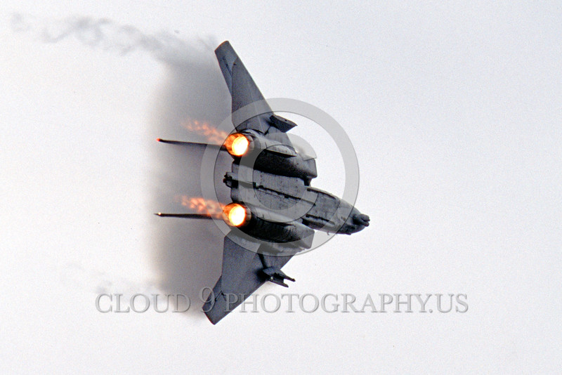AB-F14USN 00023 A Grumman F-14 Tomcat USN jet fighter flies with swept wings in afterburner creating vortex military airplane picture by Peter J Mancus
