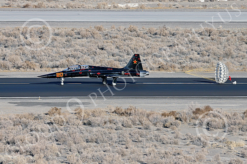 F-5USN 00145 A black Northrop F-5B USN 761580 VFC-13 SAINTS rolls out at NAS Fallon 1-2015 with rarely delployed chute military airplane picture by Peter J Mancus