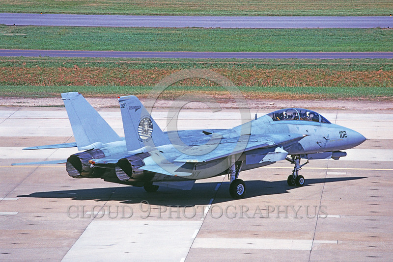 F-14USN-VF-124 0023 A taxing Grumman F-14 Tomcat USN VF-124 GUNFIGHTERS 10-2006 military airplane picture by David F Brown