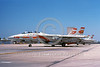 F-14USN-VF-1 0003 A static USN Grumman F-14 Tomcat USN jet fighter 162597 VF-1 WOLFPACK commanding officer's airplane USS Ranger NAS Miramar 11-1997 military airplane picture by Michael Grove, Sr