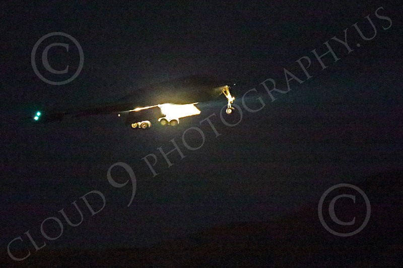 WWAN 00011 A Northrop B-2 Spirit stealth strategic bomber lands at Nellis AFB after a night Red Flag mission military airplane picture by Peter J Mancus
