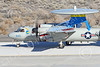 E-2USN 00291 A sharkmouth Grumman E-2C Hawkeye US Navy 165820 VAW-112 GOLDEN HAWKS USS John C  Stennis taxis at NAS Fallon 1-2015 military airplane picture by Peter J Mancus