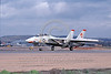 F-14USN-VF-111 0027 A Grumman F-14 Tomcat USN 160676 VF-111 SUNDOWNERS USS Kitty Hawk rolls out on NAS Miramar's runway 2-1979 military airplane picture by Michael Grove, Sr