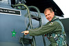 ACM 00018 A California ANG F-15 Eagle jet fighter pilot points to a SU-22 green star kill on the side of his F-15, 3-3015, military airplane picture by Peter J Mancus