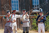 HR-FtRossRUSS 00066 Russian civilian militia historical re-enactors drill at Ft Ross California historial re-enactor picture by Peter J Mancus