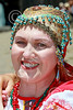 HR-FtRossRUSS 00025 A smiling, happy, civilian female Ft Ross California Russian settlor historical re-enactor picture by Peter J Mancus