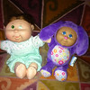 """ITEM # 4307; CABBAGE PATCH KIDS; approx 9"""" t; soft doll in lime green outfit; PHP375<br /> ITEM # 4308; CABBAGE PATCH KIDS; approx 9"""" t; soft doll in violet outfit w/rabbit ears; PHP275"""