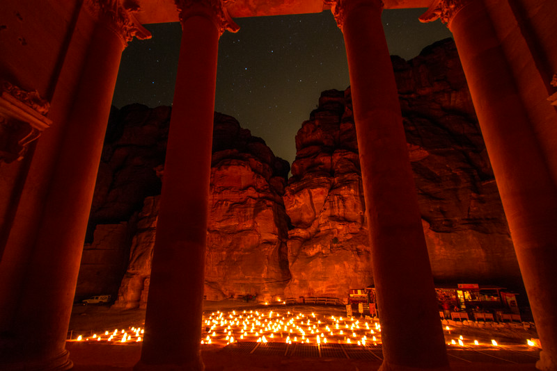 The Treasury At Petra At Night, Jordan