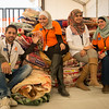 NRC team at the distribution center handing out winter clothers and blankets in Azraq:  Mohammed Mafouth (from left), Sally Mhaisen, Iman Ananbeh and Samal Al-Khorabsheh. Photo: Tiril Skarstein, NRC