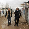 Jan Egeland speaking with Joe Keyrouz, NRC's Information, Counselling and Legal Assistance program coordinator in Bekaa. Egeland visited Syrian refugees in an informal tented settlement in the Bekaa Valley in Lebanon on February 25, 2015. <br /> <br /> Photo: NRC/Rayane Abou Jaoude