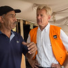 Secretary General Jan Egeland speaks with Abu Khamis from the Khan al Ahmar bedouine community in the West Bank, Palestine, which is threatened with displacement.  Photo: Tiril Skarstein, NRC