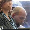 Defense attorney Julie Olsen (left) and John King (right)  listens to the prosecutor outline the armed robbery case .